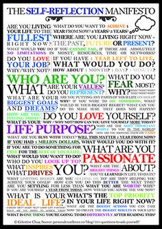 Self Reflection Personal Excellence Manifesto -- All the questions you should ask yourself when evaluating your life.