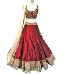 Buy maroon georgette embroidered unstitched lehenga choli lehenga-choli online