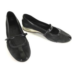 aa9652ab818f Cole Haan Shoes 8 Nike Air Bria Black Suede Patent Mary Jane Ballet Flats  D16140