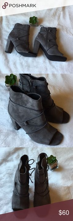 """Rialto Milan Heeled Boots Beautiful Rialto Milan Heeled Suede Faux Size 7. Brand New!  🌸Faux suede upper  🌸Side zip closure  🌸Braided lace wrap around accent  🌸Peep toe 3"""" heel  🌸Manmade outsole Imported Rialto Shoes Heeled Boots"""