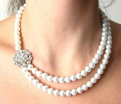 Bridal Jewelry Pearl Necklace Vintage Wedding Jewelry Flower Necklace. $45.00, via Etsy.
