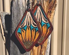 Wildflower + Turquoise leather earrings