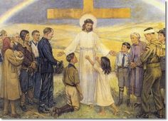 Cicely Mary Barker - Religious Works - Out of Great Tribulation - Norbury Methodist Church 1946 Painting