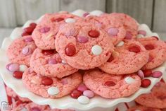 Strawberry Cake Mix Cookies are soft & sweet and made with just 4 ingredients! Super simple to make these cute, festive cake mix cookies. The strawberry flavor is just perfect. Strawberry Cake Mix Cookies are Strawberry Cake Mix Cookies, Lemon Cake Mix Cookies, Cake Mix Cookie Recipes, Lemon Cake Mixes, Sweet Cookies, Candy Recipes, Yummy Recipes, Pistachio Cookies, Lemon Cakes