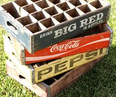 Vintage Soda Pop Crates.  Yep, used to drink my soda directly from one of these, at the little country store where my grandma lived.