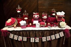 Love is Sweet Banner - Wedding Reception or Shower Candy Buffet Decor Wedding Reception, Our Wedding, Wedding Ideas, Reception Ideas, Home Made Candy, Candy Buffet, Lolly Buffet, Candy Favors, Tissue Paper Flowers
