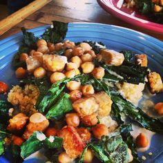 crispy coconut kale, tempeh and chickpeas with maple tahini dressing