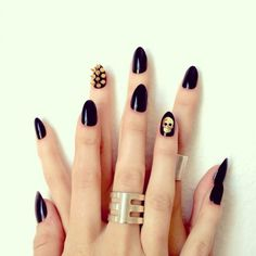 The least cheesy Halloween mani I've ever seen! 19 Ways to Dress Up Your Nails for Halloween via Brit + Co.