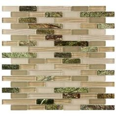 Merola Tile Tessera Piano Rainforest 12 in. x 11 3/4 in. Glass and Stone Mosaic Wall Tile  Model # GDXTPNRF Internet # 203026073  Store SO SKU # 467127
