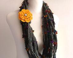 blue jewelry scarf  light teal blue wrinkle jewelry by BienBijou