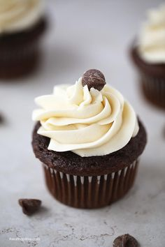 Chocolate cupcakes: super soft, rich and topped with a lush buttercream frosting