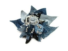Denim Flowers, Big Flowers, Denim Bracelet, Denim And Diamonds, Fabric Brooch, Happy 21st Birthday, Diy And Crafts Sewing, Blue Fabric, Denim Fabric