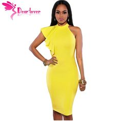 Dear Lover summer dresses mujer 2017 Yellow/White/Black Solid One Shoulder Ruffle Sleeve Midi Dress Runway High Quality  LC61094