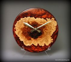 Unique wood and resin clock
