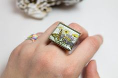 Big square silver and bronze ring with real от FriendMeBijou