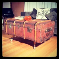 vintage leather trunk coffee table. $450.00, via Etsy.