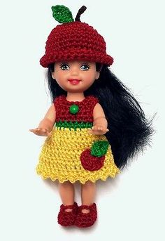 Kelly Doll Clothes Crochet Apple Dress Shoes Panties Hat Handmade New | eBay