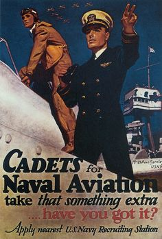 WWII US Navy recruitment poster for naval aviators.
