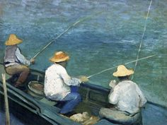 The Athenaeum - Three Fishermen in a Boat (Gustave Caillebotte - )
