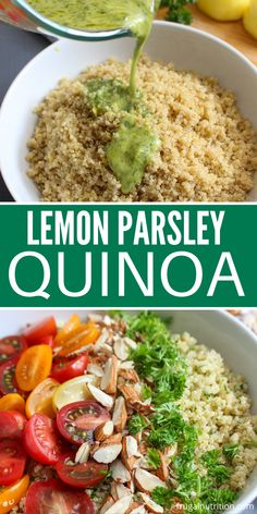 Lemon Parsley Quinoa Recipe is incredible. This quinoa is full of rich and savory flavors with a nice citrus twist. Give this quinoa recipe a try and serve as a main dish or even a side. #side #maindish #lemon #parsley #quinoa Healthy Summer Recipes, Healthy Eating Recipes, Healthy Foods To Eat, Lunch Recipes, Easy Dinner Recipes, Real Food Recipes, Great Recipes, Gluten Free Recipes For Breakfast, Gluten Free Breakfasts