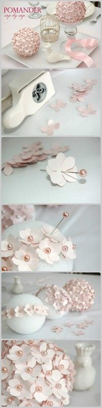Flower pomanders. just exposing you to more ideas to like or throw away