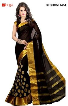 FEMININE FAB-Women's Beautiful Black Color Printed Cotton Silk  Saree With Blouse   #Sarees #Fashion #trending #Nice #Collection #Offers #Deals #New #Zinngafashion #Deals #looking #Trending #Friday