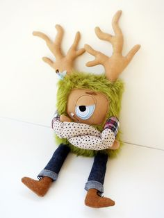 Sawyer the Grumpster - Hand sewn, plush hipster monster. $65.00, via Etsy. I love Cutesy but not Cutesy!!!