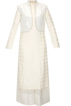 Cream phulkari kurta with cotton pants and white embroidered jacket available only at Pernia's Pop-Up Shop.