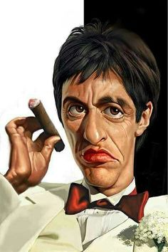 Al Pacino Scarface Caricature. Cartoon Faces, Funny Faces, Cartoon Art, Cartoon Quotes, Funny Quotes, Caricature Artist, Caricature Drawing, Drawing Art, Funny Caricatures