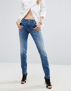 Replay Katewin Girlfriend Jeans with Released Frayed Hem