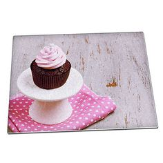 Pink #chocolate cupcake #polka dot glass #chopping board 066,  View more on the LINK: http://www.zeppy.io/product/gb/2/222097546019/