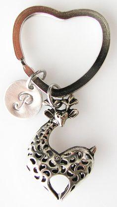 Giraffe personalized key chain giraffe key chain by SimplyLovelies on Etsy Giraffe Ring, Cute Giraffe, Giraffe Bedroom, Giraffe Clothes, Giraffe Pictures, Spiritual Animal, Heart Keyring, Monogram Keychain, Safari Animals