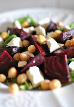 Salad of Beets Chickpeas and Feta. Salad of Beets Chickpeas and Feta - Colourful Feel Good Food Vegetarian Recipes, Cooking Recipes, Healthy Recipes, Cheese Recipes, Chicken Recipes, Ella Vegan, Healthy Salads, Healthy Eating, Beet Salad Recipes
