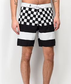Check yourself before heading to the pool or beach in the Era Check Black & White Board Shorts from Vans. Cut from a polyester blended fabric with black and white checkers and stripes throughout, a hook and loop closure with additional drawstring at the w Black Snapback Hats, Checkerboard Pattern, Summer Looks, Drawstring Waist, Vans, Stripes, Black And White, Shorts, Swimwear