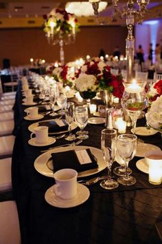 red & black table setting