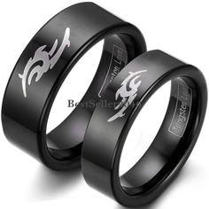 Black Tungsten Carbide Ring Laser Tribal Flame Flat Wedding Ring Engagement Band #UnbrandedGeneric #Band