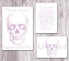 Pastel Skull Wedding Invite-Invite Suite sample. £4.00