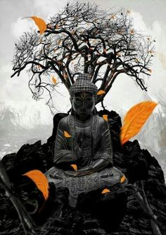 Buddha sitting under the tree. this is where he found peace.
