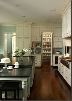 house of turquoise - layout of kitchen and big hidden pantry. Home Interior, Kitchen Interior, New Kitchen, Kitchen Decor, Kitchen Ideas, Kitchen Pantry, Kitchen Colors, Pantry Ideas, Interior Design