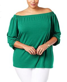 d94a8912069ab NY Collection Women s Plus Size Sld 3 4 Raglan Slv Off The Shoulder Knit Top  with Bow Tie