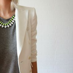 T-Shirt With Blazer And Statement Necklace