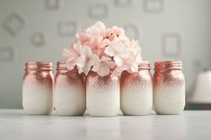 Set of 9 Glitter Vases, Rose Gold and Ivory Ombre Centerpiece, Rose Gold Home Decor, Glitter Mason Jars, Rose Gold Wedding Decor Glitter Mason Jars, Mason Jar Vases, Mason Jar Centerpieces, Painted Mason Jars, Mason Jar Crafts, Rose Gold Vase, Rose Gold Ombre, Gold Vases, Gold Wedding Decorations