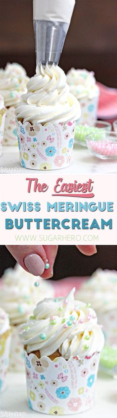 This is the Easiest Swiss Meringue Buttercream recipe you'll ever make! Once you try it, you'll want to use it to cover all of your cake. Swiss Meringue Buttercream, Buttercream Recipe, Frosting Recipes, Cupcake Recipes, Dessert Recipes, Meringue Cake, Fondant Recipes, Fondant Tips, Frosting Tips