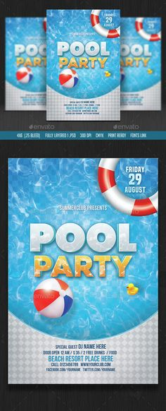 Summer Pool Party Flyer | Summer Pool, Ai Illustrator And Party Flyer