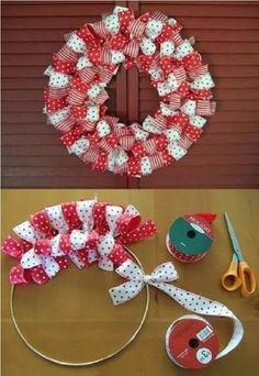 How to make a Christmas Ribbon Wreath.these are the BEST DIY Christmas Wreath Ideas! (How To Make Christmas Ribbon) Christmas Projects, Holiday Crafts, Holiday Decor, Christmas Ribbon Crafts, Holiday Wreaths, Christmas Wreaths To Make, Christmas Gift Craft Ideas, Inexpensive Christmas Gifts, Halloween Ribbon
