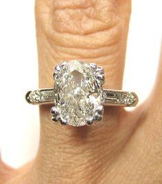 Estate 1.80ct Antique Platinum OVAL Cut Diamond
