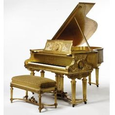 A Louis XVI style carved and painted Giltwood Steinway & Sons Grand Piano and Stool, New York, 1900