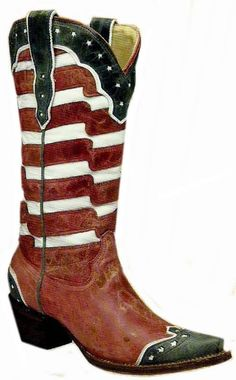 Corral boots for women offer patriotic boot fashion in red, white & blue leather creating the American flag on a snip toe western cowgirl boot. Mode Country, Country Girls, Country Style, Southern Style, Western Wear, Western Boots, Western Cowboy, Corral Boots Womens, Westerns