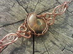 Opalized ammonite wire wrapped bracelet by pattysfamilyjewels, $52.00