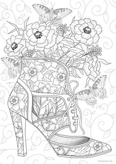 Shoe - Printable Adult Coloring Page from Favoreads (Coloring book pages for adults and kids, Coloring sheets, Colouring designs) - Coloring Pages For Grown Ups, Printable Adult Coloring Pages, Cute Coloring Pages, Flower Coloring Pages, Coloring Pages To Print, Coloring Sheets, Free Coloring, Coloring Books, Kids Coloring